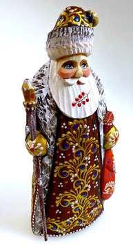 """Exklusive Russische Holzfigur """"Väterchen Frost"""", geschnitzt und sehr schön handgemalt, bordeaux-rot, Artikel HOLZ09"""