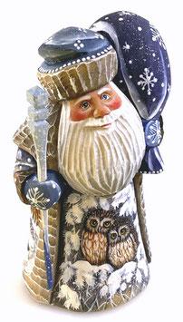 """Exklusive Russische Holzfigur """"Väterchen Frost"""" mit Zepter, geschnitzt und handgemalt, Artikel HOLZ02"""