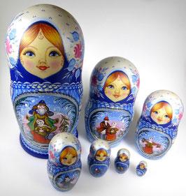 7-teilige Russische Matrjoschka mit Russischen Snegurotschka Motiven, Steckpuppe, handgemalt, Artikel MAT6