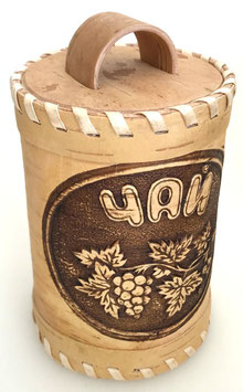 Russische Dose Mehrzweckdose Teedose aus Birkenrinde, Artikel BIR11
