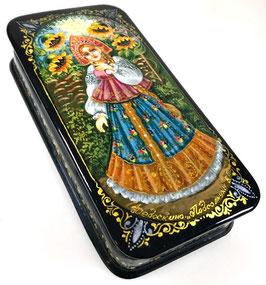 Sonnenblumen - handgemalte Russische Schatulle Lackdose Fedoskino, Artikel WP43