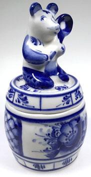 Honigtopf - Russische Porzellanmanufaktur Gzhel, handmade, Artikel Gzhel02