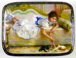 Spiel mit Kätzchen - Russische Schatulle Lackdose, Fedoskino, Artikel KIND08