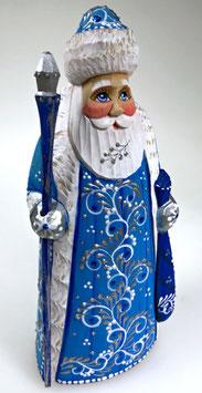 """Exklusive Russische Holzfigur """"Väterchen Frost"""", geschnitzt und sehr schön handgemalt, blau, Artikel HOLZ05"""