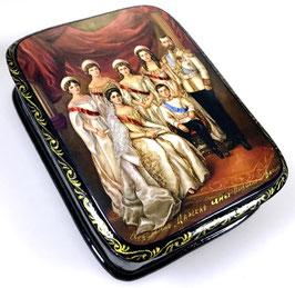 Zarenfamilie des Imperators Nikolai II - Russische Schatulle Lackdosen Fedoskino, Artikel HER19