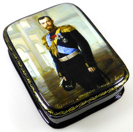 Imperator Nikolai II - Russische Schatulle Lackdosen Fedoskino, Artikel HER08