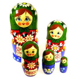 5-teilige Russische Matrjoschka mit Russischer Folklore, Steckpuppe, handgemalt, Artikel MAT10