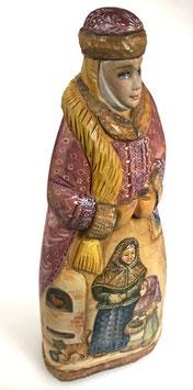 """Exklusive Russische Holzfigur """"Bojarentochter"""", geschnitzt und sehr schön handgemalt, Artikel HOLZ06"""