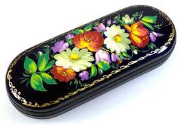 """Russische Lackmalerei, handgemaltes Brillenetui """"Blumen"""", Palekh, Artikel BR18"""