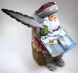 """Exklusive Russische Holzfigur """"Väterchen Frost"""" mit Gänsekiel und dem Buch """"Das Wintermärchen"""", geschnitzt und handgemalt, Artikel HOLZ03"""