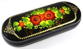 """Russische Lackmalerei, handgemaltes Brillenetui """"Blumen"""", Fedoskino, Artikel BR07"""