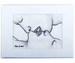 """Aquarell Bild """"Kuss"""""""
