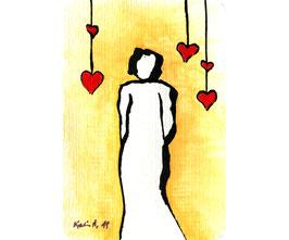 """Acryl Bild """"Frau mit Herz"""""""