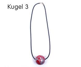 Halsband mit Kugel rot / silber