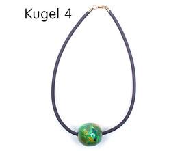 Halsband mit Kugel grün / gelb