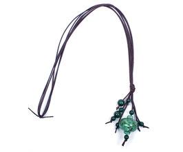 Halskette mit Glaskugel grün