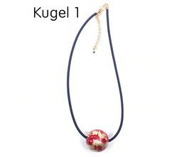 Halsband mit Kugel rot / gold