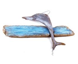 """Treibholz-Artwork """"Delphin"""" bemalt"""