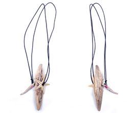 Halskette mit Seestern, Keramik und Holz Element