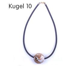 Halsband mit Kugel braun / weiß