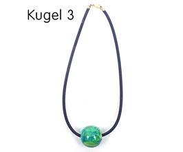 Halsband mit Kugel blau / grün / gelb