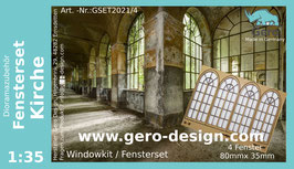 """GERO Lasercut """"Fensterset Kirche """" 1:35 - 4 Fenster"""