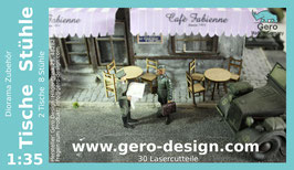 """GERO Lasercut """"Tische und Stühle"""" 1:35 - 30 Lasercutteile"""