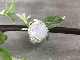 Ring silber Regenbogen Mondstein