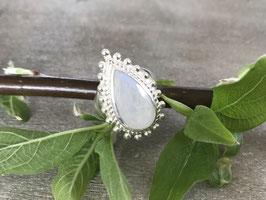 Ring Silber Tropfen Regenbogen Mondstein