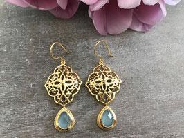 Ohrhänger Ornament gold mit Stein