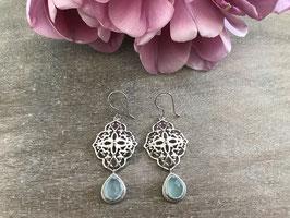Ohrhänger Ornament silber mit Stein