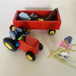 Tracteur et sa remorque - couleur rouge