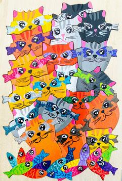 Petit puzzle chats poissons