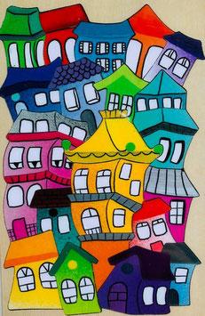 Petit puzzle maisons colorées