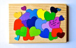 Petit puzzle coeurs multicolores