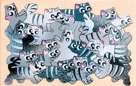 Petit puzzle chats gris tigrés