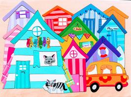 Grand puzzle maisons de plage