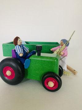Tracteur et sa remorque - couleur verte