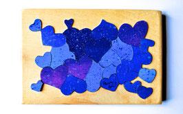 Petit puzzle cœurs bleus variante