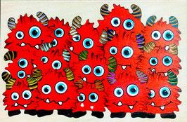Petit puzzle monstres rouges