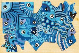 Petit puzzle poissons bleus