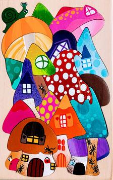 Petit puzzle maison champignons