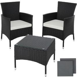 Rattan Sitzgruppe 3 tlg. braun, schwarz oder grau