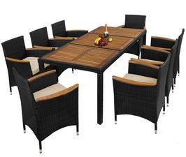 17-teilige Polyrattan Gartenmöbel mit Sitzgruppe und Akazienholz