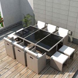 Garten Essgruppe 27-TLG. Gartenmöbel-Set Poly Rattan Glas Tischplatte