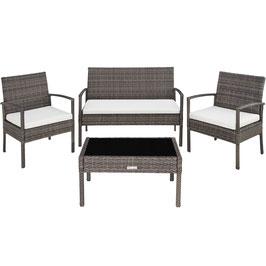 Rattan Sitzgruppe Sparta 3+1 schwarz, braun oder grau