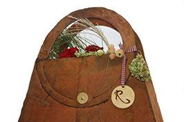 Edelrost Tasche zum befüllen, Rost Deko 35 cm