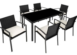 Rattan Sitzgruppe 6+1 schwarz oder braun