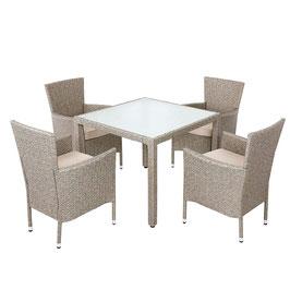 Poly Rattan 4+1 Sitzgruppe Sitzgarnitur Grau Beige | stapelbare Stühle