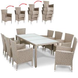Poly Rattan 6 oder 8+1 Sitzgruppe Sitzgarnitur Grau Beige | stapelbare Stühle